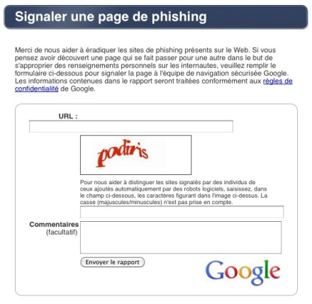 Signaler une tentative de phishing à google