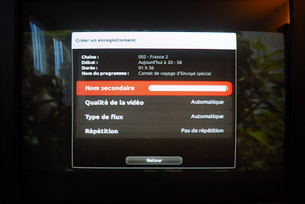 Donner un nom secondaire à un enregistrement sur Freebox revolution