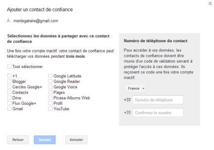 Les services Google a partager