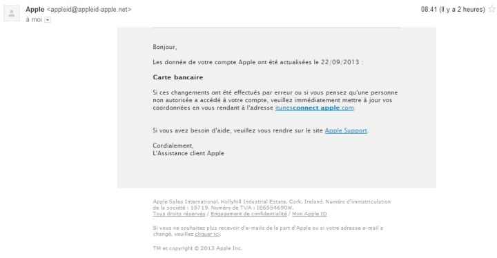 Mail de phishing Itunes