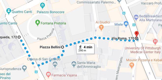 Percorso pedonale Fontana Pretoria - Piazza Bellini - Via Roma Palermo