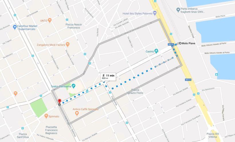 Percorso pedonale Terminal Crociere - Piazza Ruggiero Settimo Palermo
