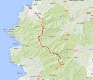 Carte de randonnée du GR20