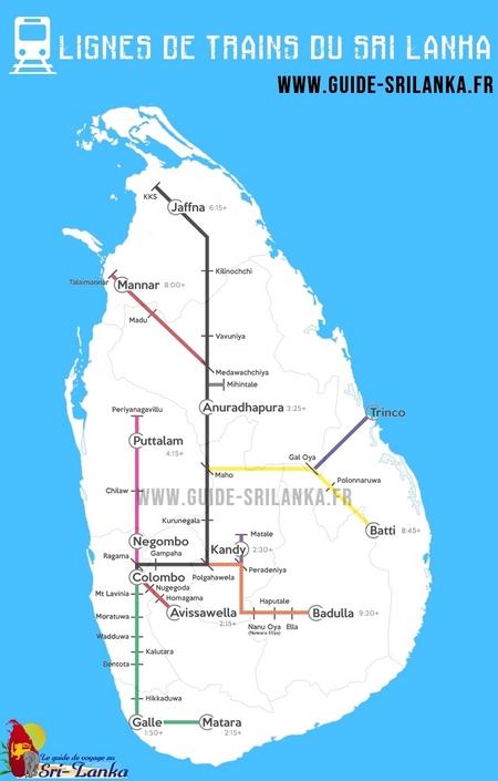 Carte lignes de trains SRI LANKA
