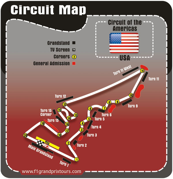 F1 Austin Circuit Map of the Americas