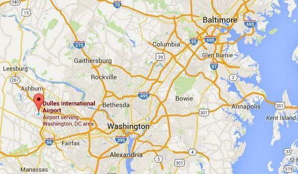 Washington Lufthavn kort - Dulles Airport