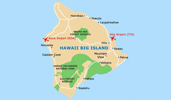 The Big Island Hawaii kort