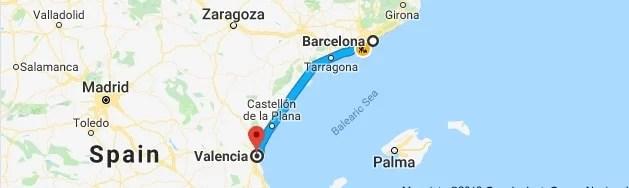 Det ser kanskje kort ut, men det er 350 kilometer mellom Barcelona og Valencia.