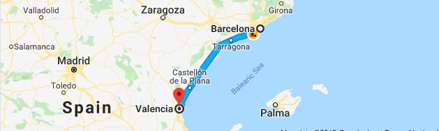 The ride from Barcelona to Valencia looks short, but it is more than 350 km.