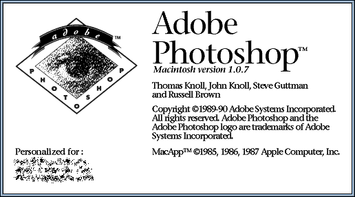 Welcome splash in Adobe Photoshop 1.0.7