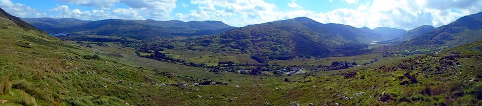 The whole length of the Black Valley from the Upper Lake to Lough Reagh at the Valley's western end