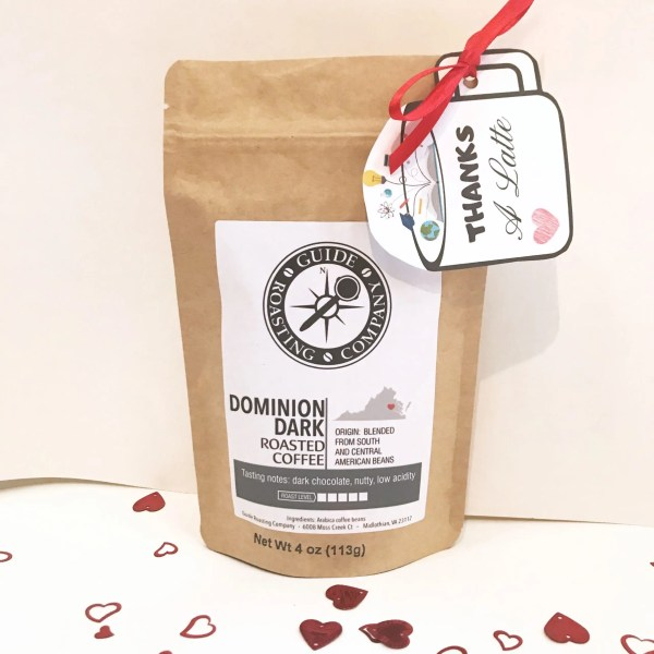sample bag of coffee with teacher gift tag
