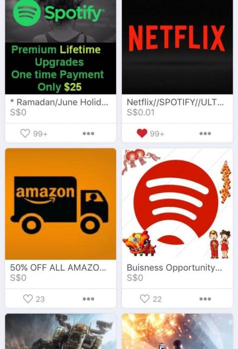 Carousell Singapore Netflix Spotify