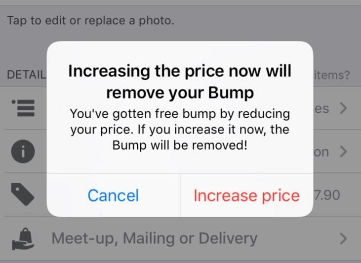 Increasing Price Removes Bump Carousell