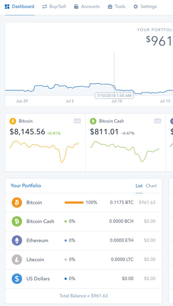 coinbase account activity