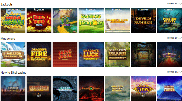 Popular SKOL Casino Games