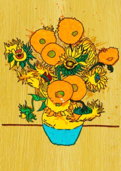 Vaso con quindici girasoli – di Vincent Van Gogh 🍏 Ri-visto da Lucia