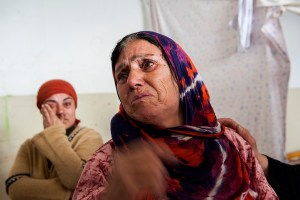 Crying Woman in Vrajdebna Refugee Centre