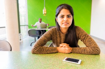 Female, Indian Student and her Smartphone
