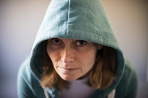 Portrait Woman wearing a Hoody