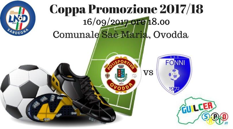 Calcio Coppa Promozione. L'anticipo di oggi Ovodda-Fonni inaugura la competizione