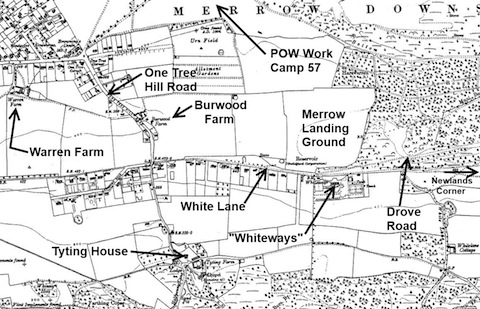 1930s map showing wartime location of Merrow Landing Ground.