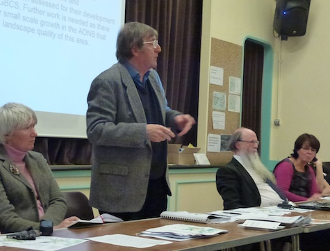 Parish Council Chairman Roy Davey addresses the meeting.