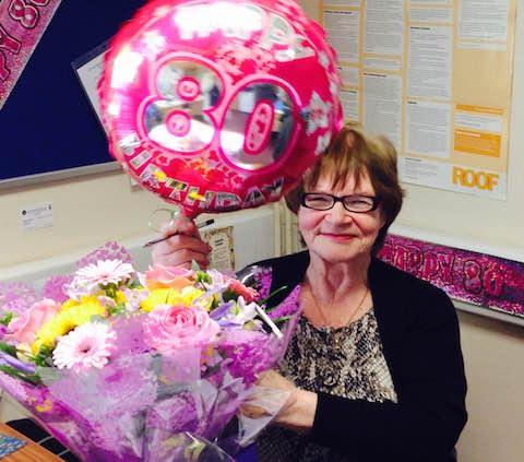 Volunteer advisor at Ash CAB Sheila Berti celebrates her 80th birthday.