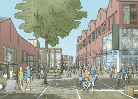 Artist's impression of mixed use proposals for North Street.