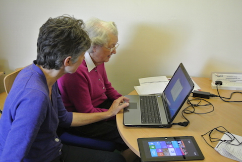 Learning computer skills at the drop-in centre at Dray Court.