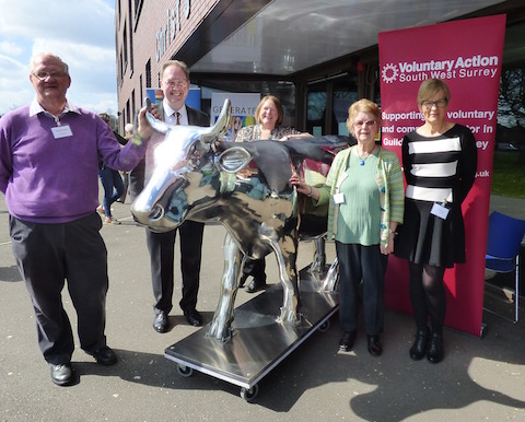 Pictured with one of the Cow Parade models, from left: Chris xxx, Mike xxx, Laura Tufnail, Pat xx and Carol Dunnett.