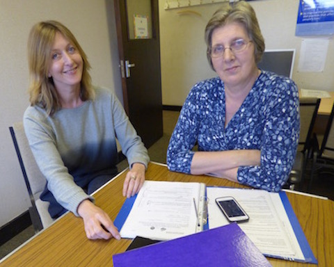 Sally Taylorson (left), who leads the scheme, with Amanda Creese, the advisor at the advice sessions in the GP surgeries.