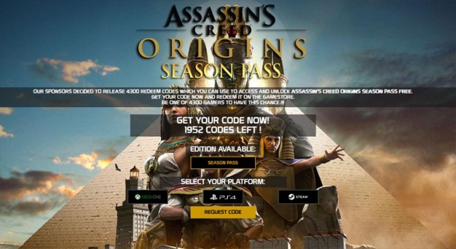 Assassin's Creed Origins Season Pass Code Generator