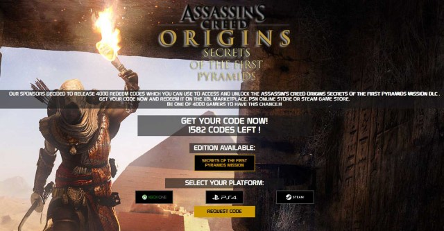 Assassin's Creed Origins Secrets of the First Pyramids Mission DLC Code Generator