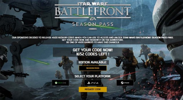Star Wars Battlefront Season Pass Code Generator