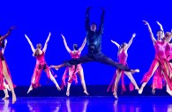 "Chris Miller is performing one of his near-perfect moves above ground, with the Hammond High Junior Dance Company performing ""Can You See a Silhouette?"" choreographed by Kerry Johnson."