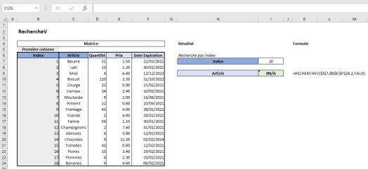 Excel RechercheV Exemple 6