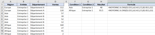 MOYENNE SI ENS Excel - Exemple
