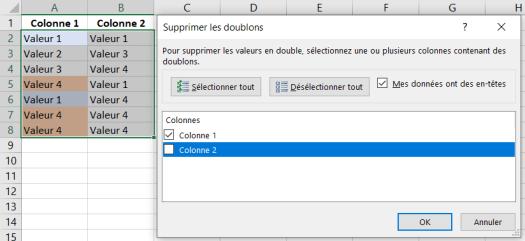 Supprimer Doublons Excel - Exemple plusieurs colonnes Une Selection