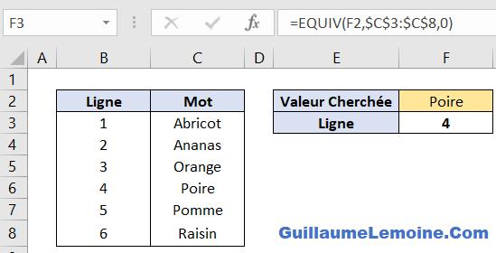 Fonction Excel EQUIV