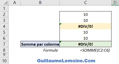 Fonction Excel SOMME - Exemple Erreur