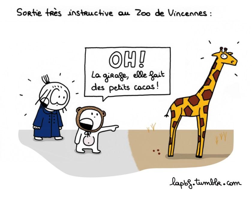 """Sortie très instructive au Zoo de Vincennes : """"Oh ! La girafe elle fait des petits cacas !"""""""