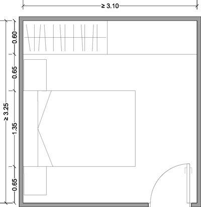 Distribución mínima de un dormitorio doble