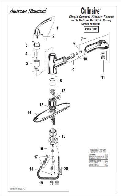 american standard kitchen faucet parts