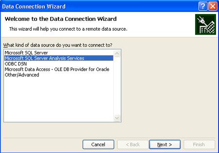 Seleccionar Microsoft SQL Server Analysis Services en el Data Connection Wizard