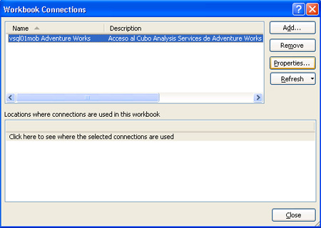 Diálogo Workbook connections de Excel 2007
