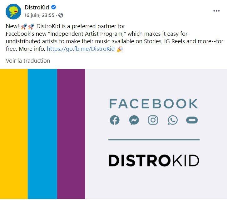 distrokid facebook distribuer musique gratuitement