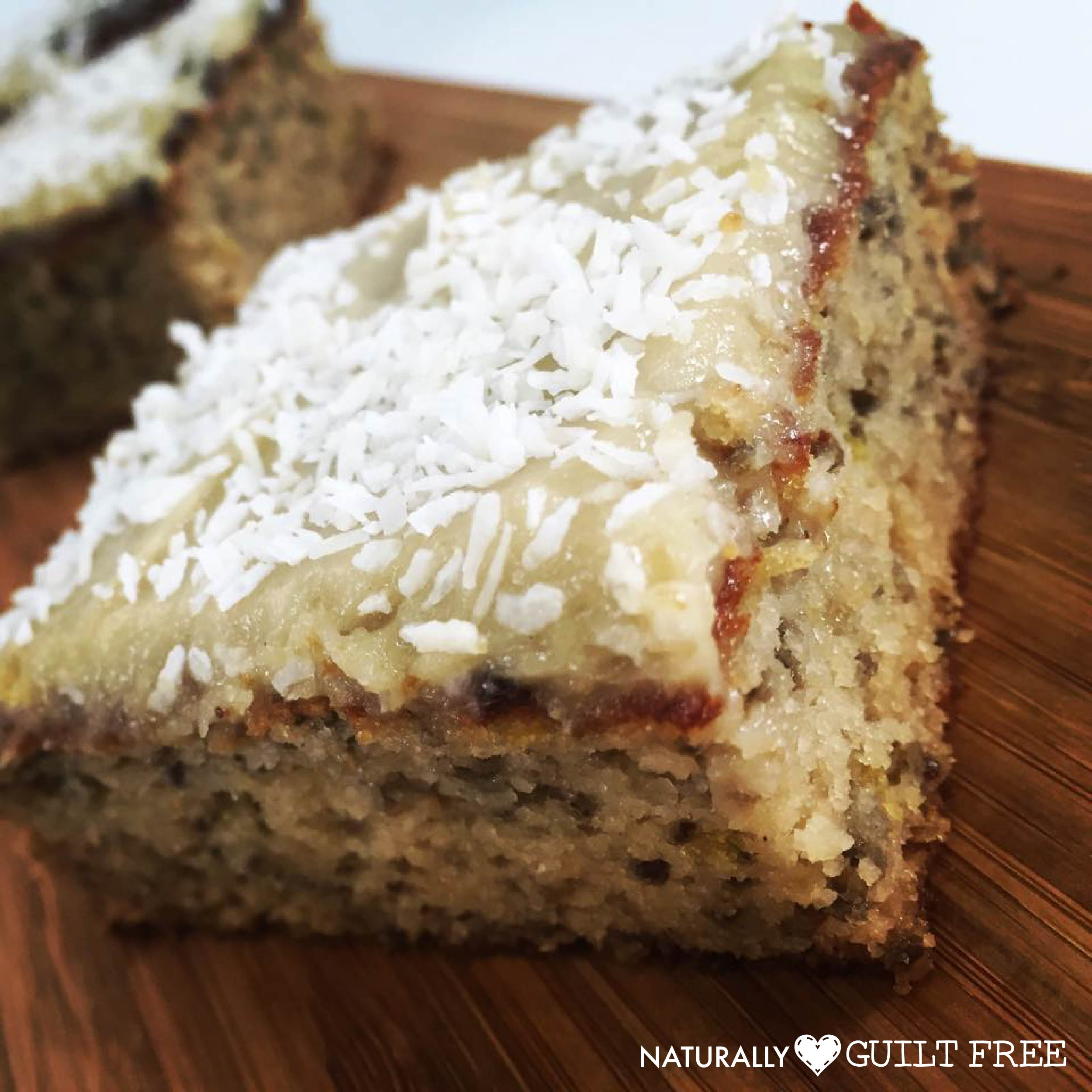 A moist, deliciously zesty lemon cake, with a creamy topping naturally free from all the nasties. With added superfood boost from chia seeds.