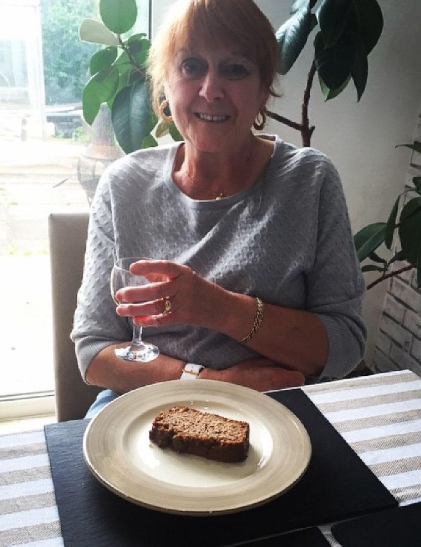 My Nan enjoying my banana cake!