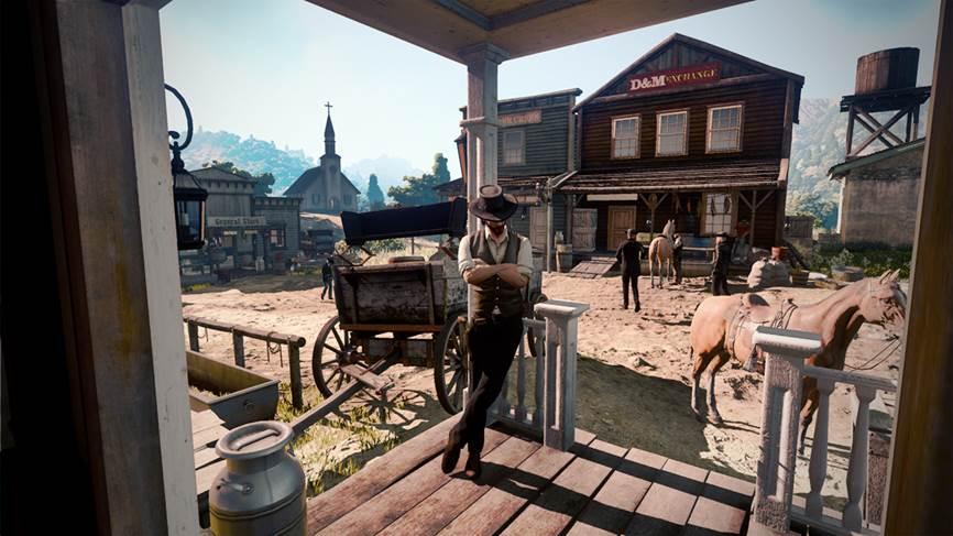 Siltrada una imagen de Red Dead Redemption 2 por el inmenso internet. En ella podemos observar a un vaquero esperando una copa de coñac fuera de un SALOON.